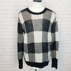 Banana Republic|Black/White Buffalo Check Sweater